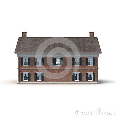 Free Derby House, Historic Colonial Building On White. Rear View. 3D Illustration Royalty Free Stock Photo - 80184735