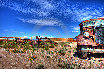 Derelict car in desert