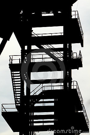 Derelict coal mining tower. silouette