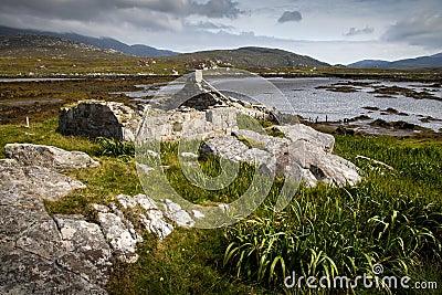 Derelict cottage by a loch