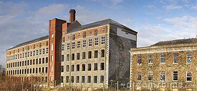 Derelict factory and office building