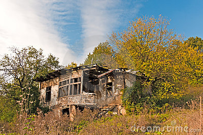 Derelict house in countryside