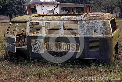 A derelict van in the Gorongosa National park Editorial Stock Image