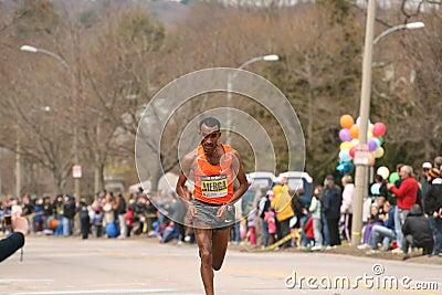 Deriba Merga races up Heartbreak Hill Editorial Photography