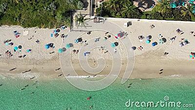 Des images aériennes de 4k de gens qui passent du bon temps sur la plage de Miami banque de vidéos