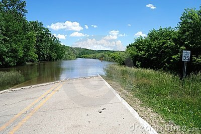 Des Moines River Flooding over US Route 30 Editorial Photography