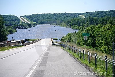 Des Moines River Flooding over US Route 30 Editorial Stock Image