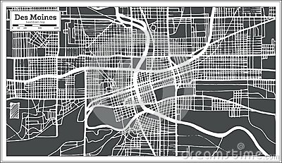 Des Moines USA City Map In Retro Style. Outline Map. Cartoon Vector on