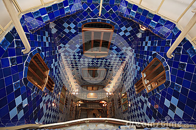 Descending Casa Batllo blue tiled spiral staircase Editorial Stock Image
