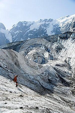 Descending mountaineer