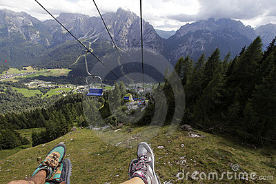 Descent on a chair lift