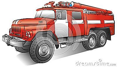 Desenho da viatura de incêndio da cor