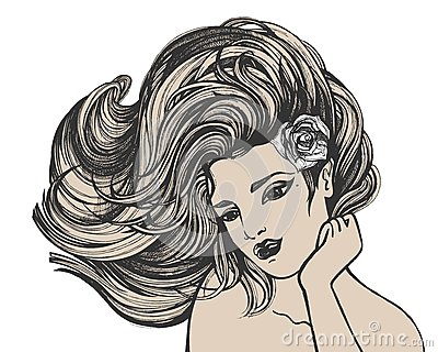 Desenho de cabelos compridos da mulher
