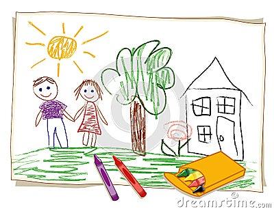 Desenho de pastel da criança (JPG+EPS)