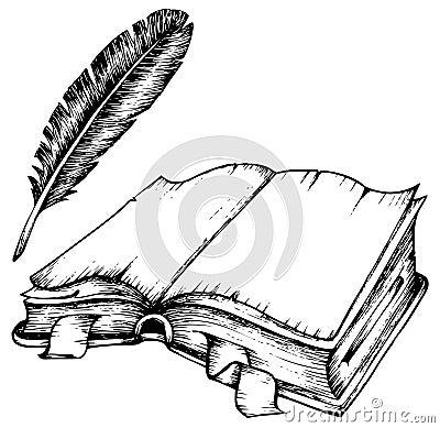 Desenho Do Livro Aberto Com Pena Imagens De Stock Imagem