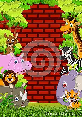Desenhos animados animais bonitos dos animais selvagens