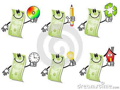 Desenhos animados cem contas de dólar 2