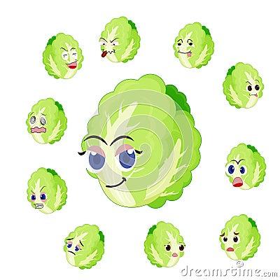 Desenhos animados da couve chinesa com muitas expressões