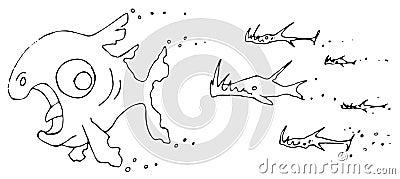 Desenhos animados da perseguição dos peixes