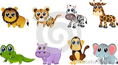 Desenhos animados do animal dos animais selvagens