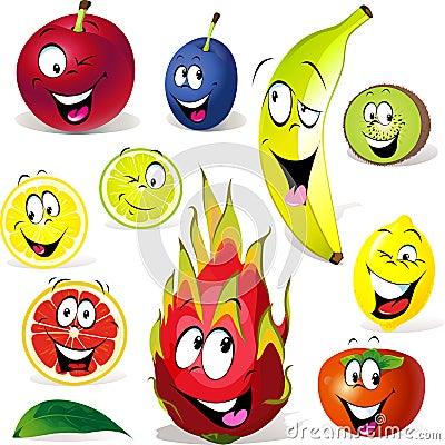 Desenhos animados do fruto com muitas expressões