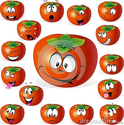 Desenhos animados do fruto do caqui com muitas expressões