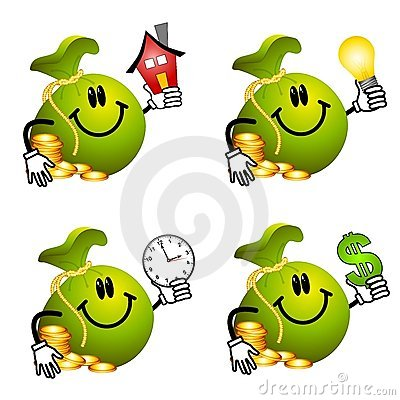 Desenhos animados do Moneybag que prendem objetos