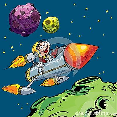 Desenhos animados do rapaz pequeno em um foguete