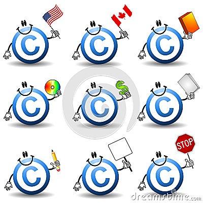 Desenhos animados do símbolo dos direitos reservados