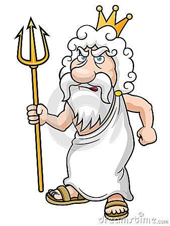 Desenhos animados Poseidon com Trident