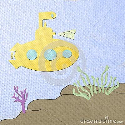 Desenhos animados submarinos feitos do papercraft do tecido