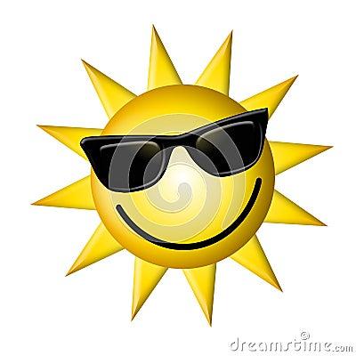 Desenhos animados Sun que desgasta vidros escuros