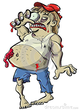 Desenhos animados vermelhos do zombi do pescoço com barriga grande