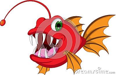 Desenhos animados vermelhos dos peixes do monstro