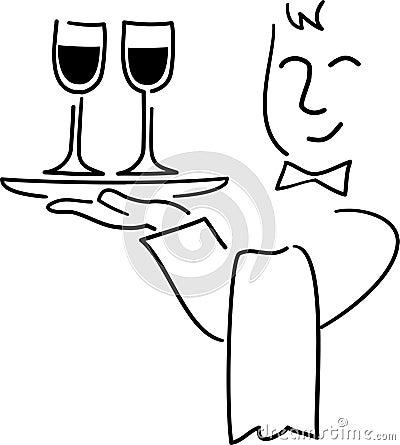 Desenhos animados Waiter/ai