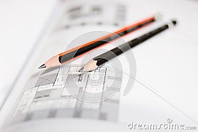 Desenhos arquitectónicos com lápis