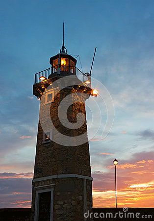 Desenzano del Garda Old Lighthouse and a Lamp Post Sunrise