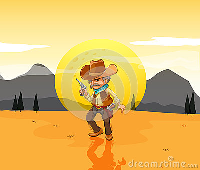 A desert with an armed cowboy