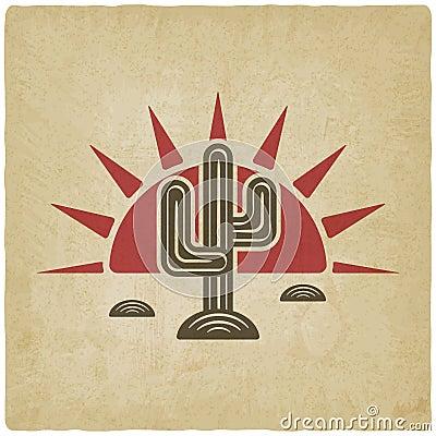 Free Desert Cactus At Sunset Old Background Royalty Free Stock Image - 48988956