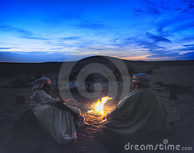 Desert campfire Editorial Photo