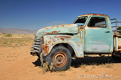 Desert car wreck
