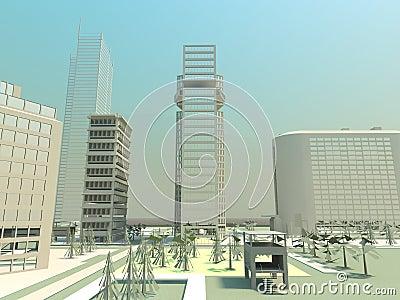 Desert city panorama