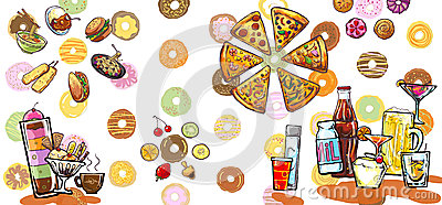 Desert drinks and foods illustration