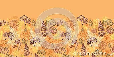 Desert flowers and leaves horizontal seamless