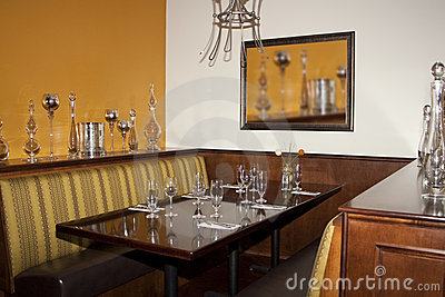 Desert golf course restaurant dining booth table