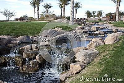Desert Golf Course Waterfall
