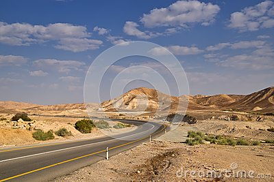 Desert highway and sky