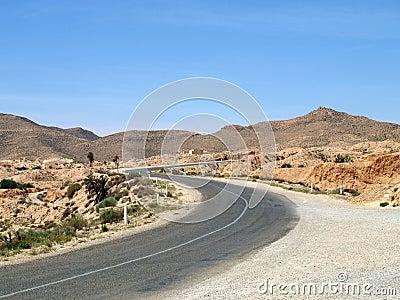 Desert highway in Tunisia