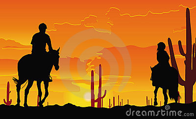 Desert horse ride, father and child at sunset