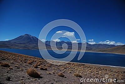 Desert lake and volcanoes